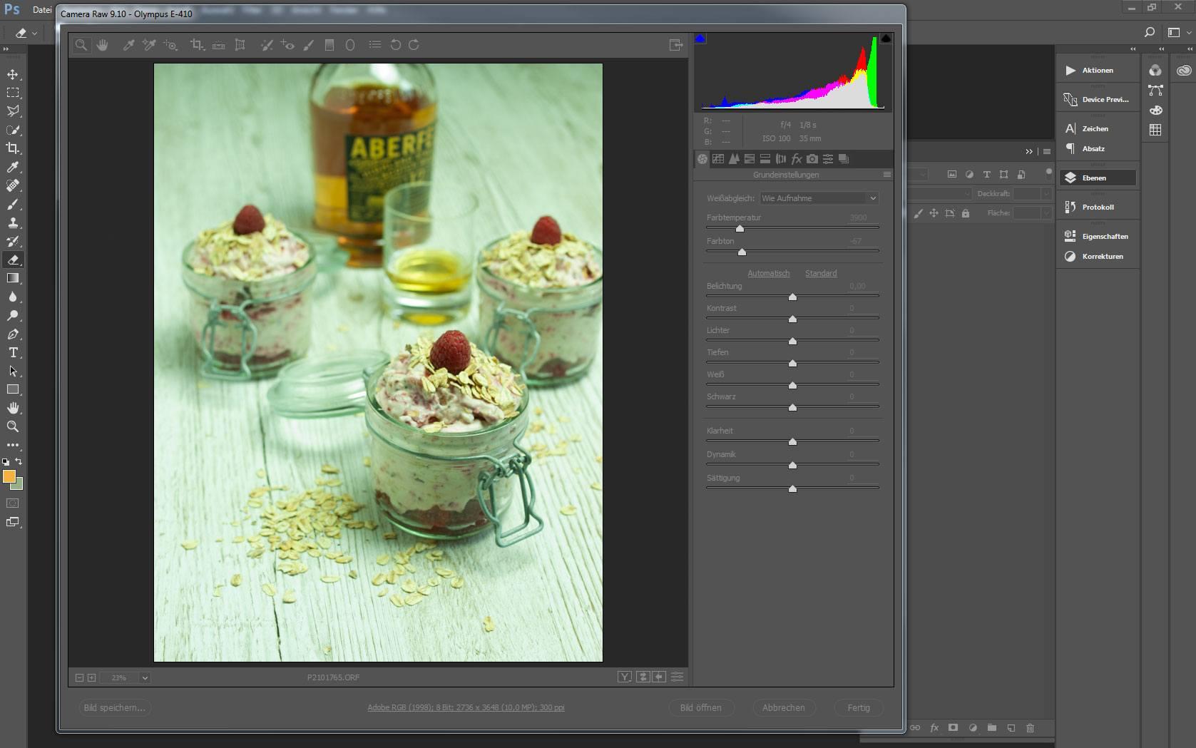 Anzeige eines Bild im Adobe Camera Raw-Modul - unbearbeitet