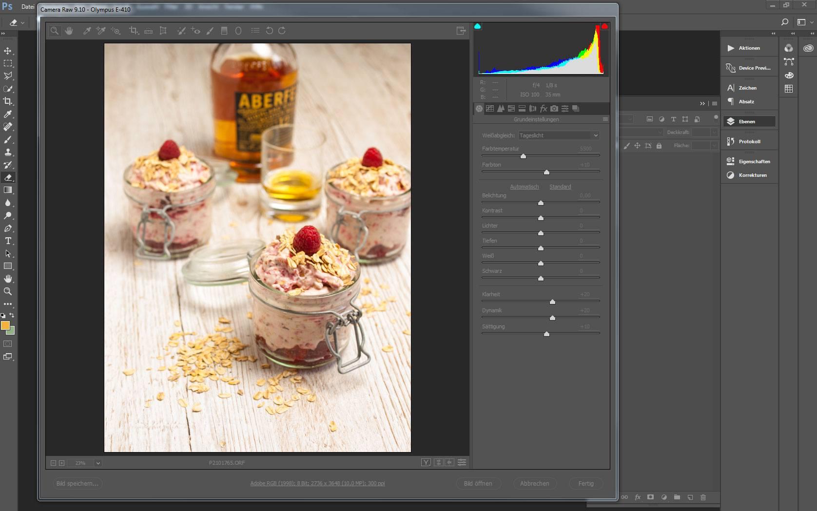 Anzeige eines Bild im Adobe Camera Raw-Modul - bearbeitet mit den Einstellungen Weißabgleich (Tageslicht) - Klarheit (+20) - Dynamik (+20) - Sättigung (+10)
