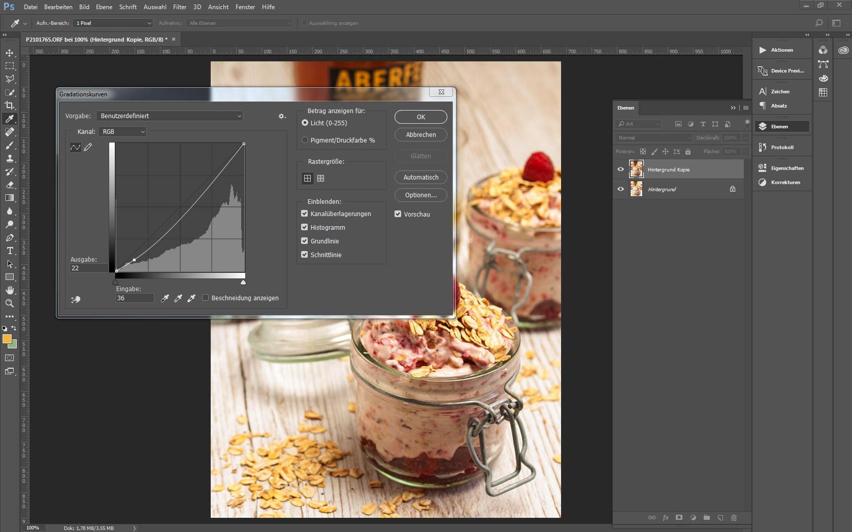 Ansicht eines Bildes in Adobe Photoshop mit geöffneten Dialogfenster Gradiationskurve
