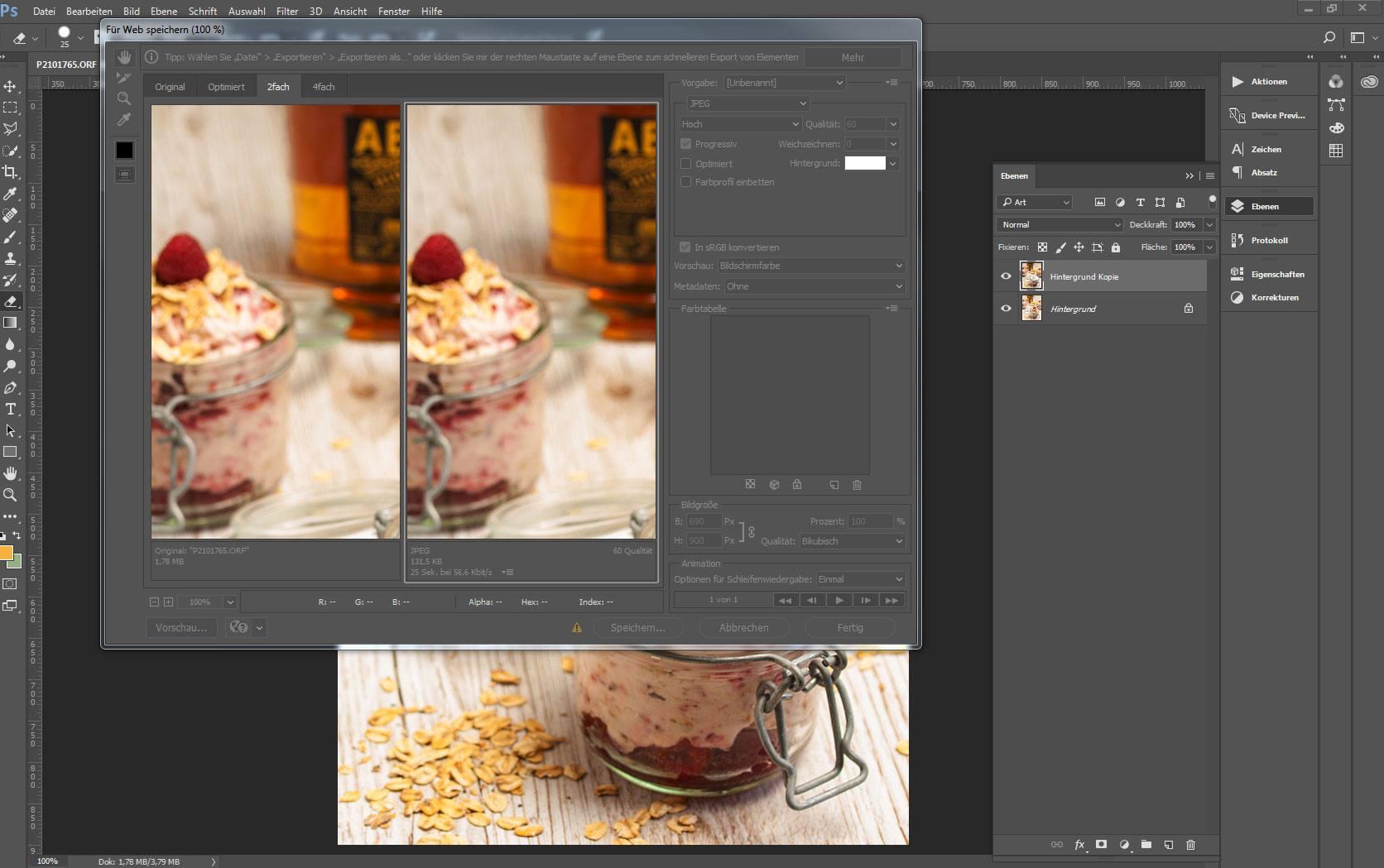 Ansicht eines Bildes in Adobe Photoshop mit aktivem Dialogfenster für Web speichern