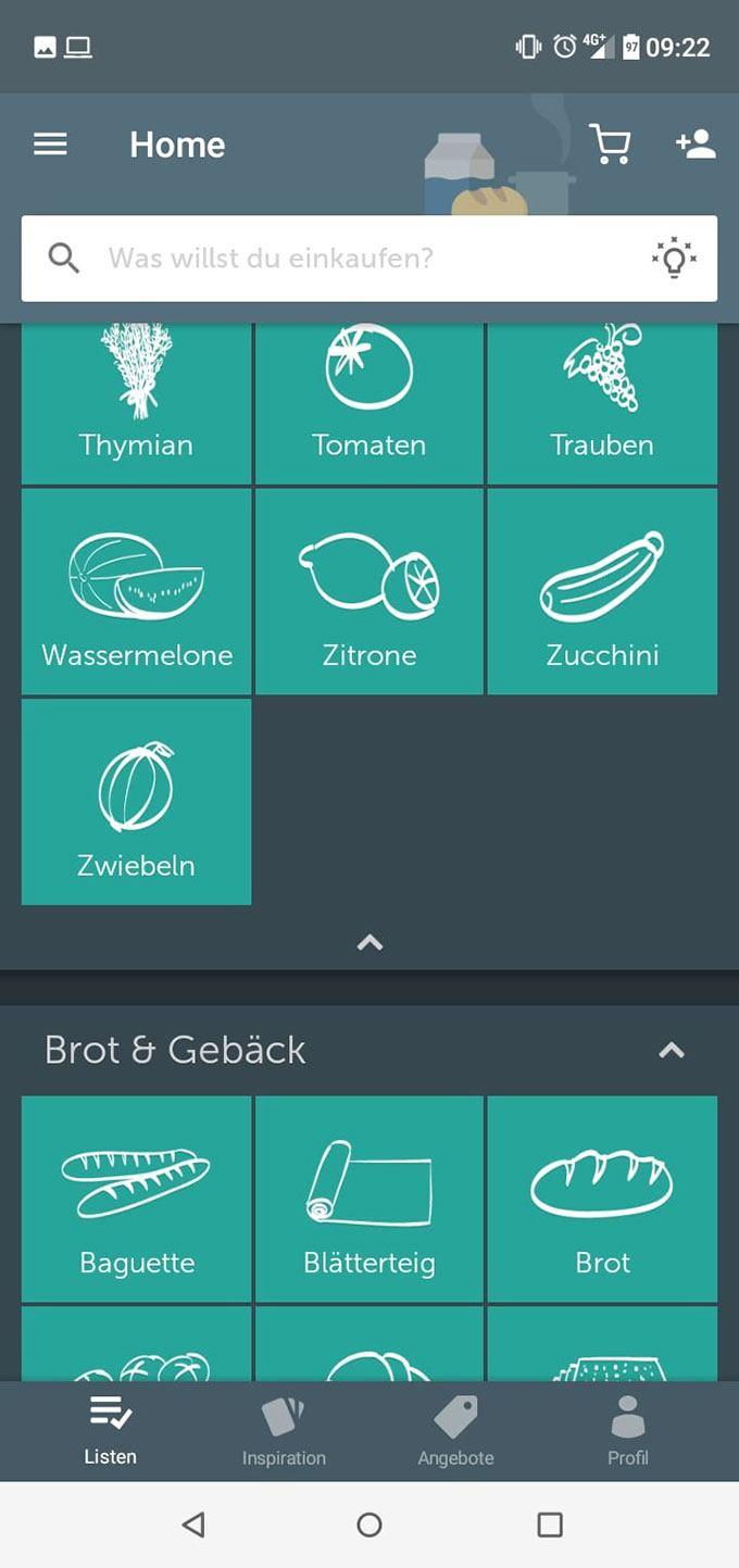 Bring! Einkaufsliste App: Screenshot Artikel-Kategorien