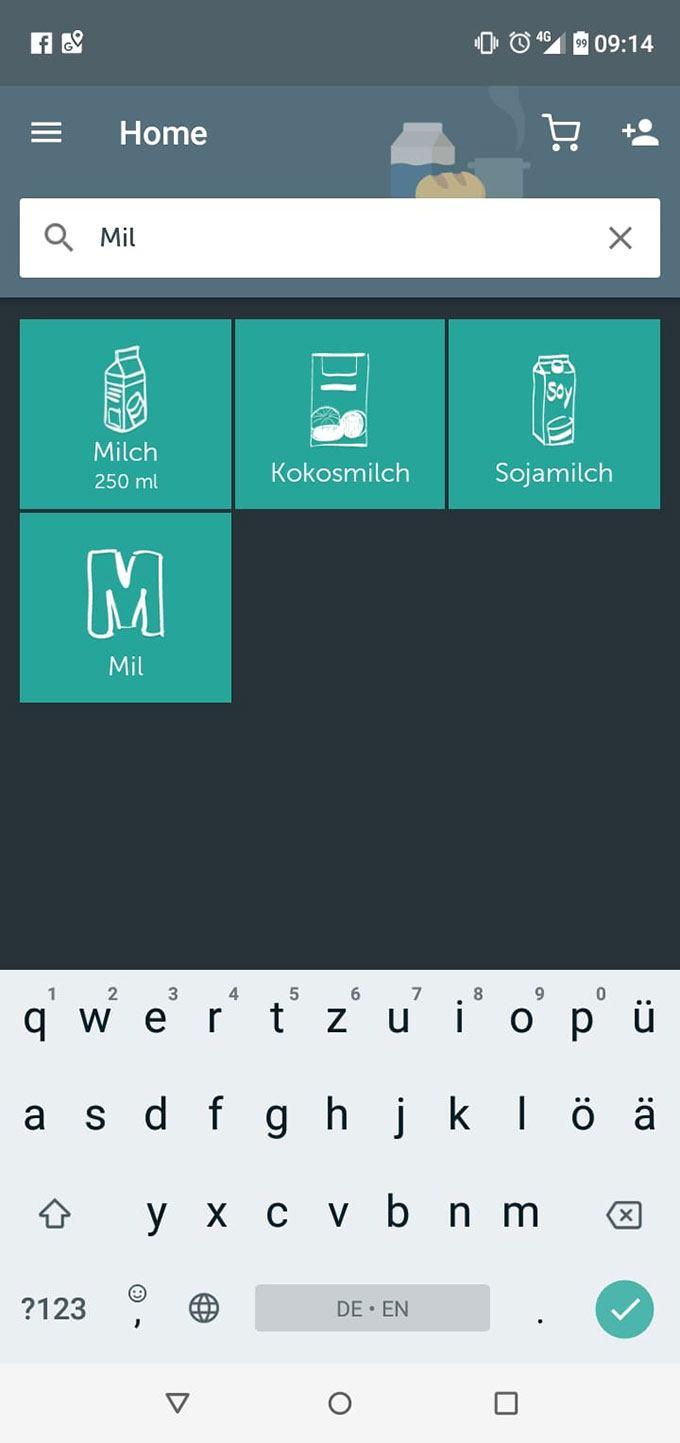 Bring! Einkaufsliste App: Screenshot Artikelsuche und eigenen Artikel erstellen