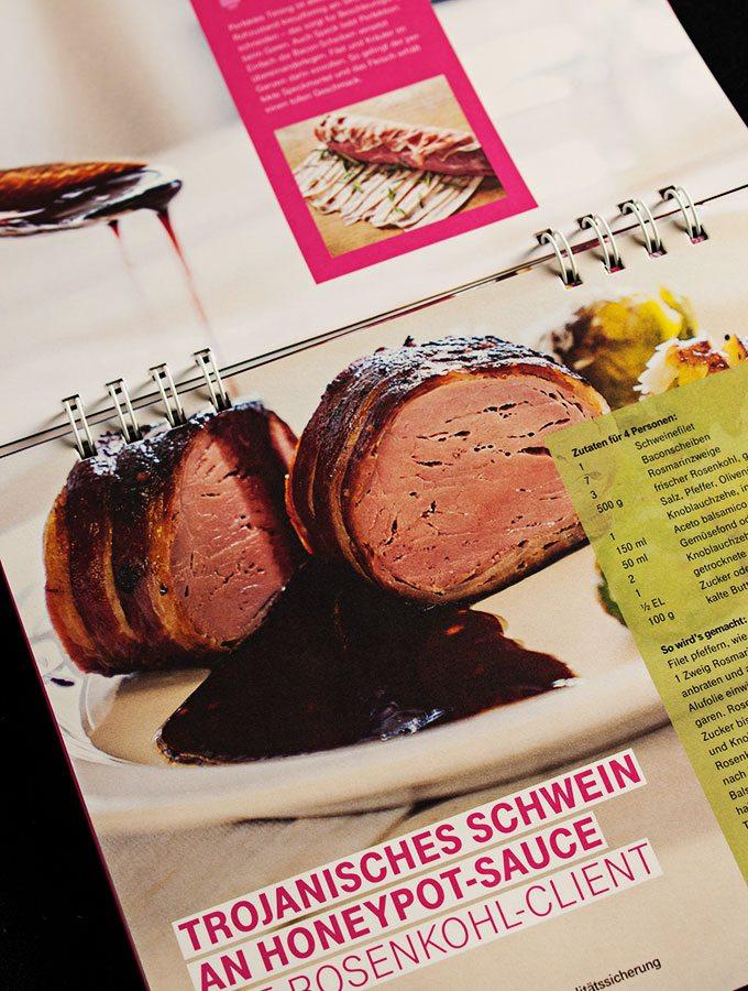 cyber kitchen - das ultimative hacker-kochbuch (deutsche-telekom): rezept für trojanisches schwein an honeypot-sauce und rosenkohl-client
