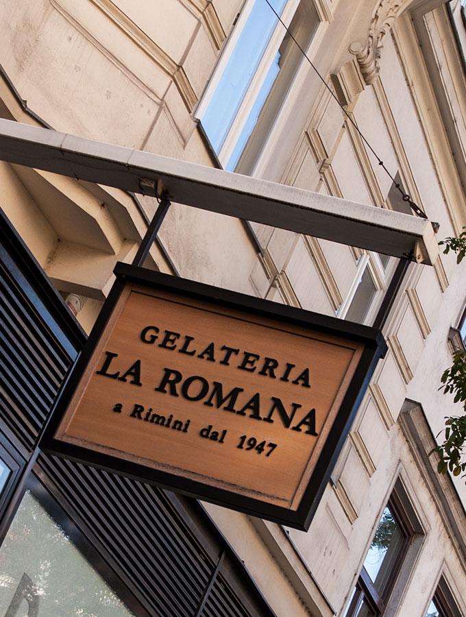 Wien kulinarisch- ein (klitzekleiner) Reiseführer: Logo der Gelateria La Romana in der Stiftgasse in Wien